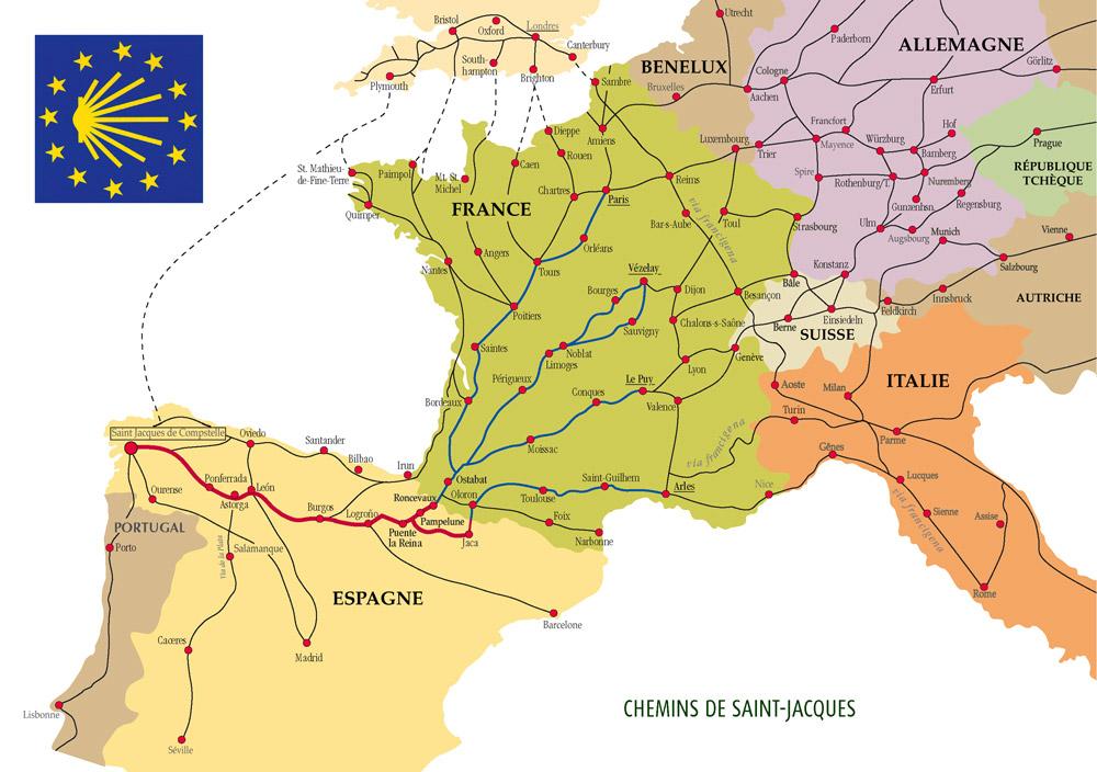 Les chemins de Compostelle en France